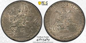 :1913 1-PESO MEXICO CABALLITO LIBERTY HORSEBACK KM#453 PCGS AU-55 HIGH-GRADE