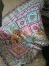 Hand made by me crocheted newborn baby rug blanket wrap throw gorgeous