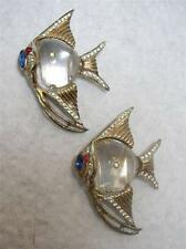 U/S CORO CRAFT ANGELFISH STERLING GILT JELLY BELLY FISH DRESS CLIPS DUETTE PINS