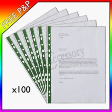 100 x A4 Clear Plastic Green Punched Pockets Filing Wallets Sleeves - 60 Micron
