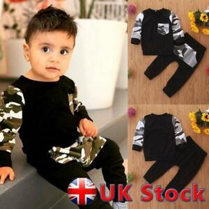 2Pcs Children Toddler Kids Boys Clothes T-Shirt Tops Pants Tracksuit Outfits UK