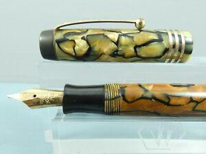 """Vintage Parker Duofold Jr De Luxe Pearl & Black Fountain Pen,GT,c1930 *Restored"""""""