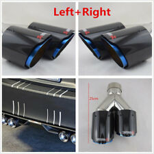 1 Pair Left Right Chrome Blue Glossy Carbon Fiber Car Dual Exhaust Pipe 63-89mm