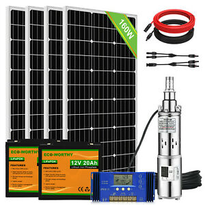 DC Deep Bore Well Solar Water Pump  Submersible Screw Pump Complete Kit