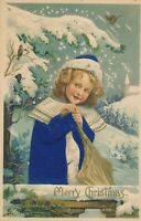CHRISTMAS – Dressed Up Girl and Birds Silk Covered Postcard - 1910
