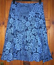 Monsoon ladies skirt size 10 navy blue floral linen & cotton NEW