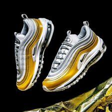 New Nike Air Max 97 Metallic Gold Silver Leather Trainers Women Men UK 6 EU 40