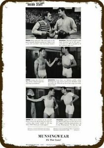 1940 MUNSINGWEAR Men's Underwear DECORATIVE METAL SIGN - GAY PEPPER & KNUCKLES