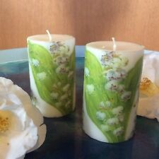 Pillar candle with lilies of the valley