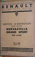 P 730 . RENAULT NERVASTELLA GRAND SPORT . 1935 . 1 NOTICE D'ENTRETIEN . 36 PAGES