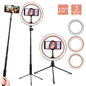 10''LED Lamp Ring Light Dimmable Selfie Stick Tripod Kit for Makeup Youtube Live