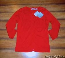LIZ CLAIBORNE ~ New NWT M ~ Valentine Red Smocked Embroidered Cardigan Sweater