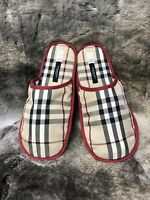 Burberry Luxury Lounge/Bedroom Slippers Burberry Plaid Print Size Small