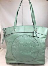 COACH Laura Green Leather Tote Shoulder Embossed Circle Handbag F18336 Logo Bag