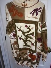 BASS Women's fall winter Pullover Sweater Knitted by Hand Long Tunic euc sz