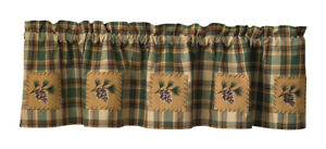 Scotch Pine Patch Lined Cotton Country Cabin Window Valance 60 x 14 Home Decor