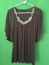 7474)  WHITE HOUSE BLACK MARKET  M brown jersey knit top gold beaded wing sleeve