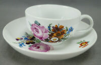 Meissen Marcolini Hand Painted Pink Rose & Floral Tea Cup & Saucer C.1774-1817
