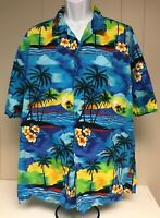 Vintage Aloha Republic Mens Hawaiian Button Down Shirt XXL Hibiscus Palm Trees