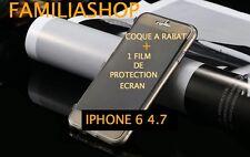 Housse étui pochette coque rabat silicone noir iphone 6 4.7 + 1 film