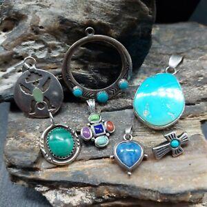 Southwestern Sterling Silver Multi Stone Small Pendant Lot Native Tribal Navajo