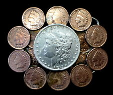 ANTIQUE BELT BUCKLE WITH 1882 MORGAN SILVER DOLLAR & INDIAN HEAD CENTS NICE!