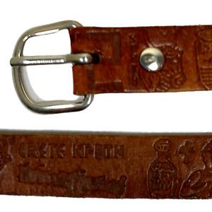 Ladies Vintage Leather Belt Brown UK 10 70 cm 28 in Embossed Crete Kpith S5