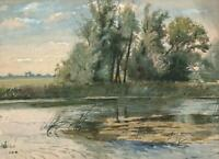 CHARLES EDMUND BROCK (1870-1938) Watercolour Painting ENGLISH RIVER LANDSCAPE