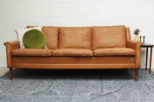 Vintage Danish Tan Leather 1960s Three Seater Sofa Midcentury