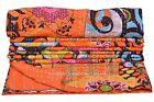 Indian Handmade Cotton Orange Floral Kantha Quilt Twin Bedspread Throw Blanket