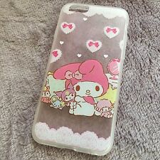 iPhone 6 / 6S Pink My Melody Ribbon Hearts Hard TPU Rubber Gummy Skin Case Cover