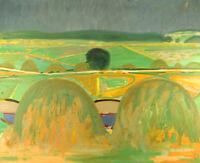 Hans Øllgaard (1911-1969). Oil on canvas. Modernist Danish summer landscape