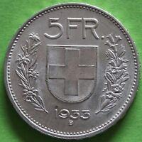 SUISSE 5 FRANCS 1933 B ARGENT