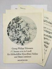 Noten. Telemann. Sonata a tre in f-moll.  Partitur und Stimmen.