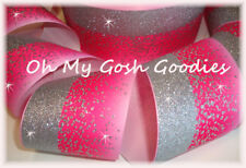 """3"""" * DOUBLE * FROSTED GLITTER SHOCKING PINK OMBRE CHEER GROSGRAIN RIBBON FOR BOW"""