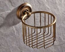 Antique Brass Bathroom Toilet Paper Roll Tissue Basket Wall Mounted qba274