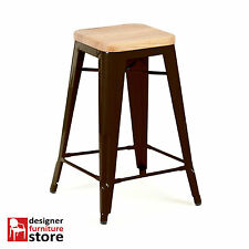 Replica Xavier Pauchard Tolix Metal Stool (66cm) - 3cm Oak Wood Seat - Chocolate