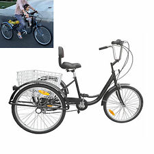 "3 Wheel Bicycle Bike Adult Tricycle 24"" 6 Speed Basket Beach Cruiser W/ Basket"