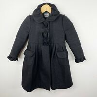 Rothschild Girls Size 4T Wool Dress Coat Winter Holiday Dark Gray Speckled Black
