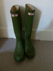 Vintage 1980s Original Hunter Green Rubber Wellington Boots UK 9 EU 43