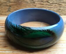 Chunky Retro Blue Peacock Feather Design Plastic Bangle/Retro/Boho/70's/Wood