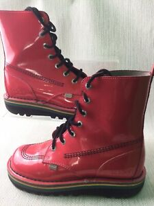 Kickers Boots Coral Pink Rainbow Sole Size 5 Leather USED No Box Lace Up W936