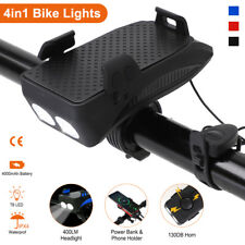 4in1 Rechargeable Bicycle Headlight MTB Bike Front Light Horn Phone Holder Lamp