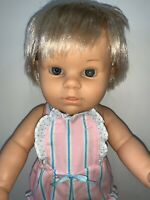 "Vintage 16"" Anatomically Correct Berjusa Toddler Girl Doll Blonde Rooted Hair"