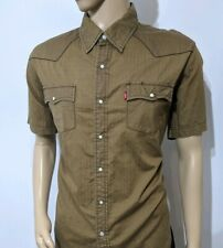 LEVI'S Chemise homme western Pearl snap Brown nordiques Stripe Red Tab Taille XL RRP £ 80