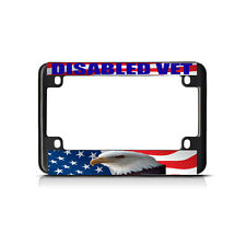 DISABLED VET WHITE FLAG Black Metal Bike Motorcycle License Plate Frame Tag