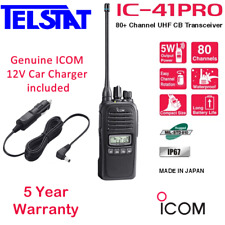 ICOM IC 41Pro Walkie Talkie UHF Handheld Radio + Genuine ICOM CP23L Car Charger