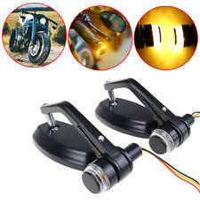 "7/8""/22mm handle bar end Rearview Mirrors LED Turn Signals For Honda Suzuki KTM"