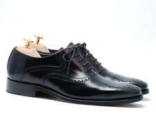 Barker Men`s High Shine Brogue Shoes  - 430977 Black & Burgundy Size 6.5 G