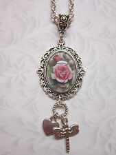 Car mirror charm pink rose dragonfly Pendant hanging ornament glass cabochon
